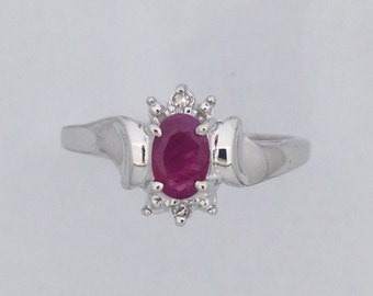 Genuine Ruby with Genuine Diamond Ring 925 Sterling Silver
