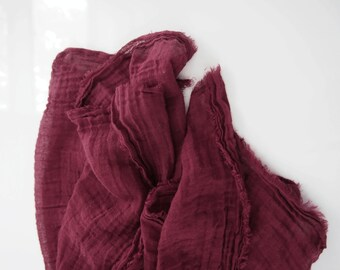 Rusty Burgundy Cotton Scarf, Lightweight Gauze Scarf, Deep Red Scarf, Fall Autumn Gift, Large Burgundy Scarf, Mens Womens, Hand Dyed Nomad