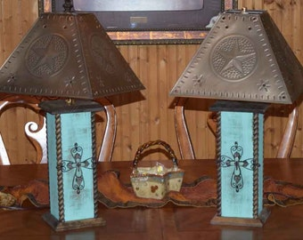 """24"""" Rustic Lamps - Western Lamps - Western Cross Table Lamp - Distressed Turquoise or Barn Red"""
