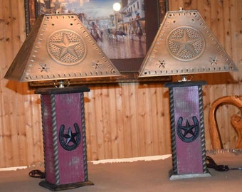 """24"""" Rustic Lamps - Western Cross Table Lamp - Distressed Turquoise or Barn Red"""