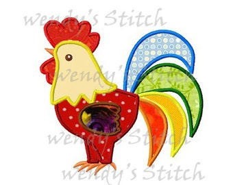 Rooster machine embroidery design digital applique