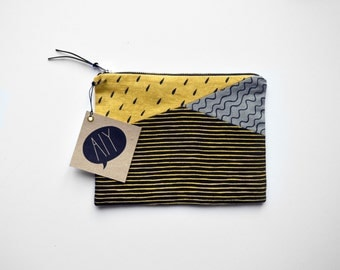 RAINDROP patchwork/ hand screen printed linen make up case with different prints patchwork design/ bar organizing/ stationary