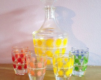 Mid century polka dot liquor decanter set with 6 shot glasses - made in France - 1950's