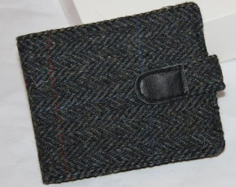 Harris Tweed wallet, charcoal herringbone, for him, credit cards, bill fold