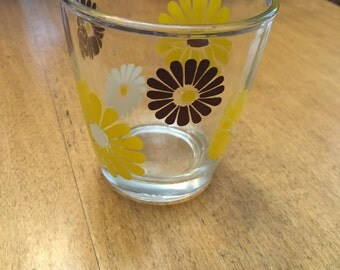 Vintage Hazel Atlas Brown/Yellow/ White Flowers Sour Cream Glass
