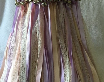 50 Wedding Wands/Wedding Ribbon Wands/Wedding Wand/Wedding Streamers/lt Pink, Iris, Blush and Natural Lace