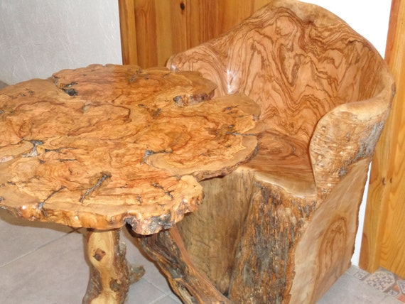 Burr Olive Wood Table And Olive Log Dugout Chair