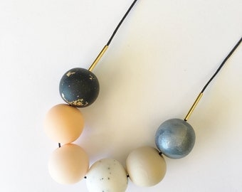 Handmade Polymer Clay Beads Necklace- Alexander