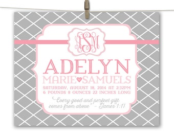 pink and gray nursery art - baby girl canvas nursery wall art - personalized baby girl birth stats - newborn baby girl gift
