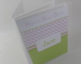 Baby Photo album, girl photo album grandmas Brag Book 4x6 or 5x7 picture , Personalized Baby Album , baby shower Gift pink green 575