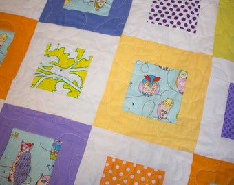 Owl Pattern Modern Baby Quilt - All proceeds to Leukemia and Lymphoma Society