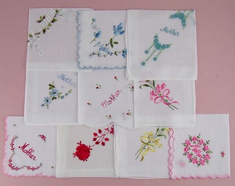 Your Choice of Vintage Handkerchief (s) for Mother -- Top Row Left and Center Have Been Sold  (Inventory Lot #H13)