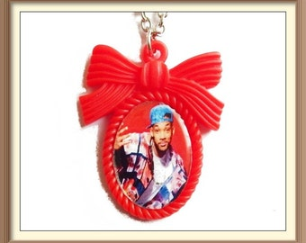 The Fresh Prince of Bel-Air Inspired Bow Cameo Necklace / Will Smith / West Philadelphia / Carlton / Banks / 90s