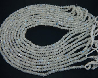 SALE Rainbow Moonstone Beads, White Rainbow Rondelle Faceted 5mm approx., Gemstones Israel Cut AAA quality Beads, sold per STRAND
