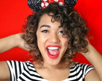 Glittery Mouse Ears Headband || Minnie Mouse Birthday || Minnie Mouse Headband || Minnie Ears