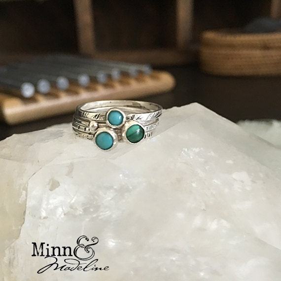 Stackable Rings. Sleeping Beauty Turquoise, Malachite and Silver Stacker Rings.