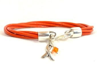 Multiple Sclerosis (MS) Awareness Bracelet - Orange 4-Strand 2mm Round Bracelet with Lobster Clasp (2M-023)