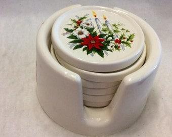 Vintage 1980s ceramic Christmas coasters.