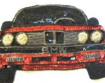 BMW Sports Car Applique, Sequin Beaded Choice of Color, Red-B367-0338, Gold-0461-Charcoal-0461-8700