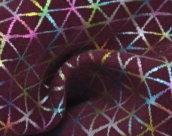 "Burgundy Geometric Rainbow Leather Calfskin 4"" x 6"" Pre-cut TA-33636 (Sec. 3,Shelf 5,A,Box 6)"