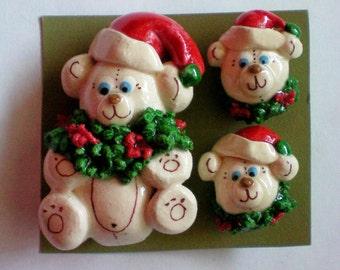 Santa Bears Pin and Earring Set - 4221