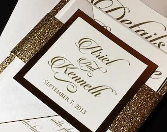 Glitter Wedding Invitation - White and Gold Glitter Wedding Invitations, Elegant Wedding Invitations, Formal Wedding Invitations, Glam