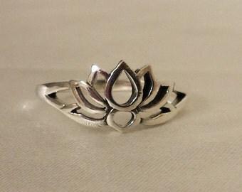 Lotus Ring, Sterling Silver Lotus Ring, Lotus Flower Ring~Lotus Flower