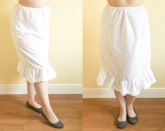 S/M UK 10-12 | Half Slip | White Slip | Cotton Petticoat | Skirt Extender | Vintage Petticoat | Cotton Slip | White Half Slip | Skirt Slip.