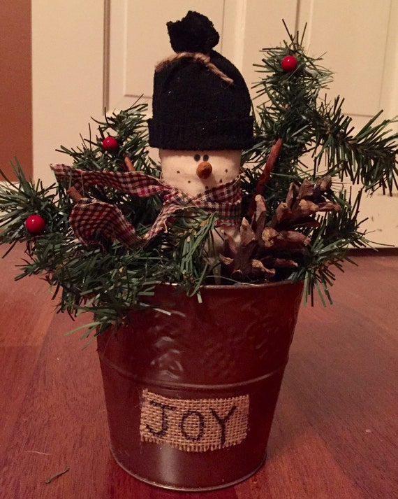 Primitive Christmas Bucket Primitive Christmas Decor
