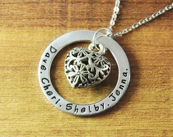 FREE Shipping- Personalized name necklace,custom any names jewelry,Circle hand stamp necklace, Personalized heart jewelry, Mother's day gift