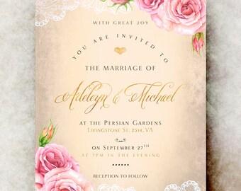 Lace Wedding Invitation - wedding invitation set, elegant wedding invitation, printable wedding invitation, roses wedding