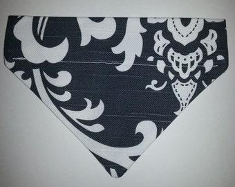 Reversible Monogrammed Gray Damask Dog Bandana