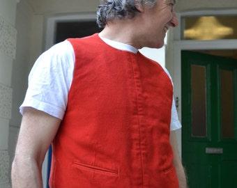 Red Moleskin Waistcoat with side zip