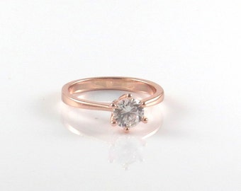 Rose gold ring with Cubic zirkonia stone , rose gold ring , gold diamond ring , natural stone ring , CZ jewelry