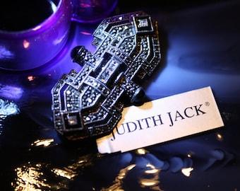 Elegant Judith Jack Sterling, Marcasite, and Onyx, Vintage Art Deco Brooch