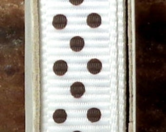 "2 Yards 3/8"" Swiss Dots - White with Brown Swiss Dots Grosgrain Print Ribbon"