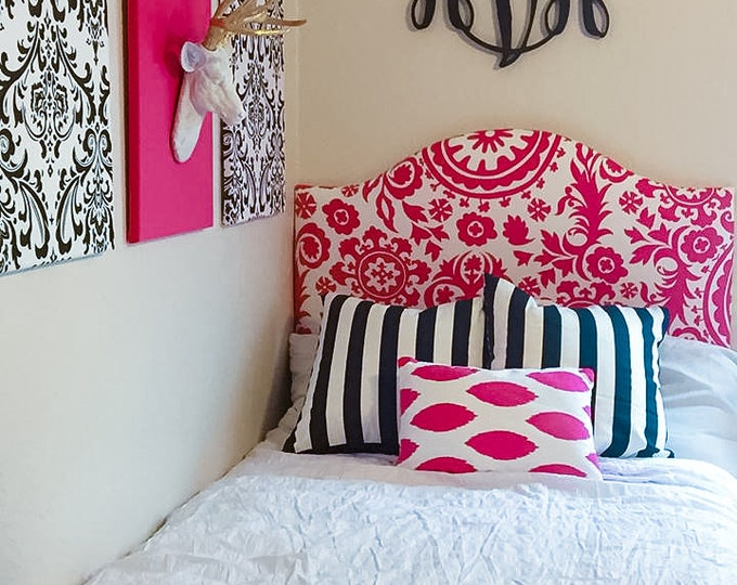 Dorm Twin Headboard, Solid or Printed fabric, Pink Collection