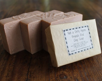 French Red Clay Soap, Mild Face Soap, Gentle Cleansing Bar, Vegan Soap, Unscented Soap, Face Cleansing Bar, Palm Oil Free Soap, Facial Soap