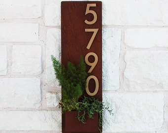 Desert Rose Planter w Silver Address Numbers Address Plaque