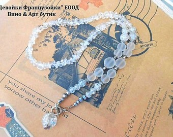 Clear quartz Necklace Rock Crystal Matte Raw Gemstone Bohemian Necklace Crackle Glass Bead Pendant Charm, Healing Stone Boho Necklace