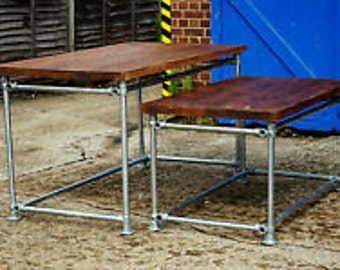 Vintage Industrial Factory Table Old Timber and Scaffold Pole Reclaimed