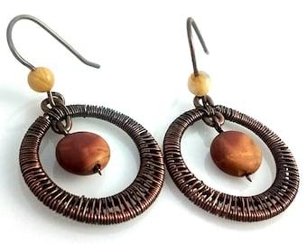 Round Woven Red Creek Jasper Dangle Earrings