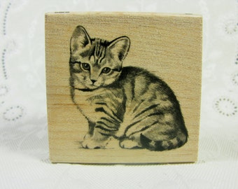 Inkadinkado Cat Wood Mounted Rubber Stamp New condition
