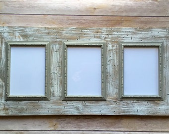 barn wood frame multi opening reclaimed wood frame with white wash finish and gray beaded trim