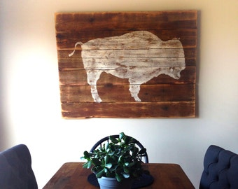 Buffalo On Reclaimed Wood