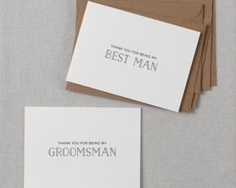 5 x Thank You Best Man Card, Groomsman Thank You Card, Page Boy Card, Thank You Groomsman Card, Usher Card, Best Man Wedding Card, K5