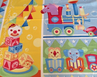 Ringling Brothers - Circus Train Baby Blocks fabric panel by Quilting Treasures