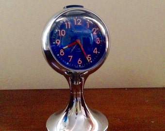 Tradition chrome and blue pedestal blessing alarm clock west germany