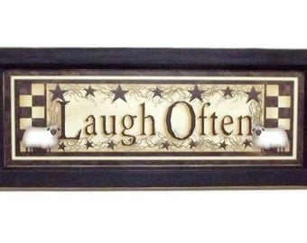 Laugh Often, Primitive Home Decor,  Sheep, Checkerboard, Star, Art Print, Wall Hanging, Handmade, 20x8 Custom Wood Frame, Made in the USA
