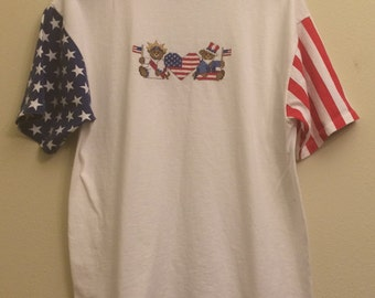 Vintage 4th of July Clothing T shirt Top Women men Adult Large Shirts